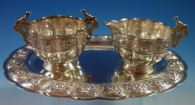 Aztec Rose by Sanborns Mexican Sterling Silver Sugar Creamer Tray Set 3pc #1770