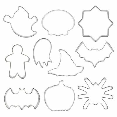 10pcs Cookie Cutter Stainless Steel Cookie Mold Halloween Decor Mould Tool GI