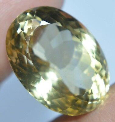VVS 18.60 Ct Natural Yellow Citrine Untreated AAAA+++ Oval AGSL Certified Gem