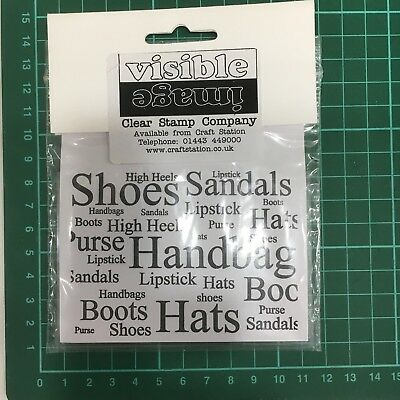 shoes handbags hats script words background Rubber Clear Silicone Stamp  NEW