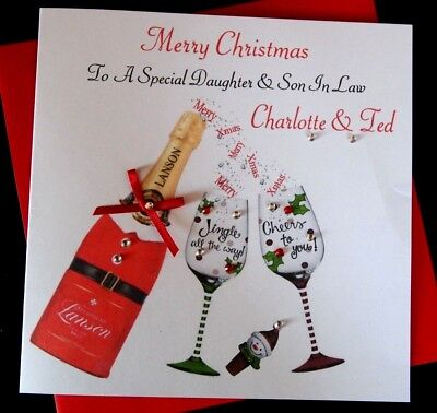 Handmade Personalised Christmas Card Daughter & Son In Law Mum & Dad Nan & Grand