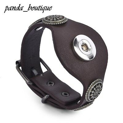 Fashion Button Bracelet Wide Leather Snap Button Bangles Jewelry Men's Gift 19mm
