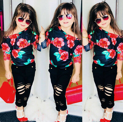Toddler Kids Baby Girl Floral Off Shoulder Top Long Pants Casual Outfits Clothes