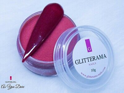 Burgundy coloured acrylic powder red nail art autumn Glitterama As you dare