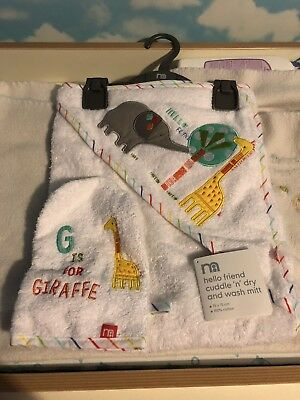 NEW Mothercare Hooded Towel And Wash Mit