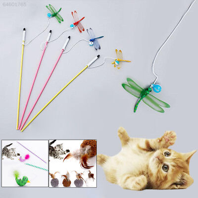 0DAC Kitten Prank Plush Ball Durable 3 Color Feather Plaything Amuse Rod