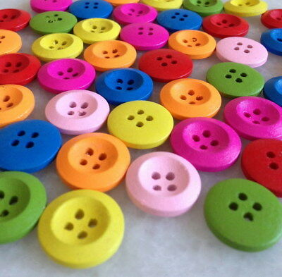 100Pcs Mixed Color Wood Round 4 Holes Sewing Buttons Scrapbooking Gnk208