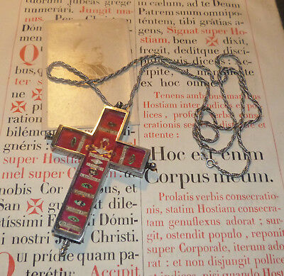 501)  Amazing sterling pectoral cross reliquary 9 important relic Andrew apostle