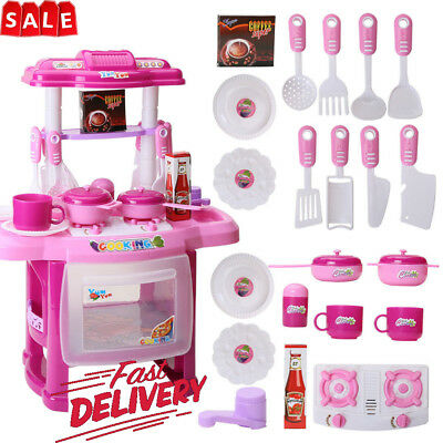Electronic Kitchen Toddler Kids Role Play Cooker Set Girls Cooking Toy UK Seller