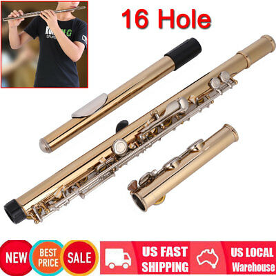 New Gold Colors 16 Hole C Flute for Student Beginner School Band w/ Case