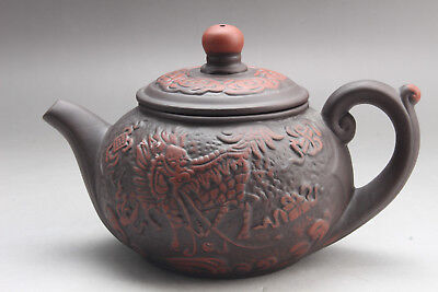 Exquisite Chinese Hand carving  Yixing red stoneware teapot  ar525