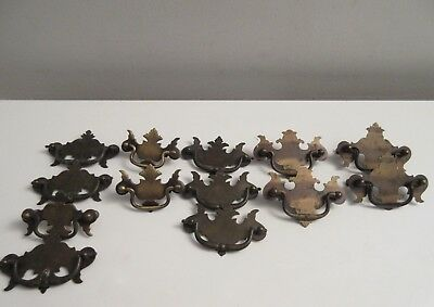 Lot of 13 Brass Chippendale Batwing Drawer Pulls Vintage Antique Hardware Nice!