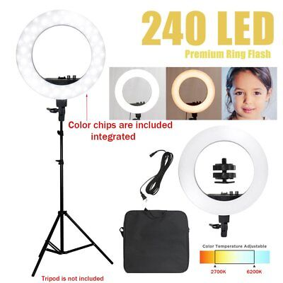 """12"""" SMD LED Ring Light Dimmable 5500K Continuous Lighting Photo Video Kit USA"""