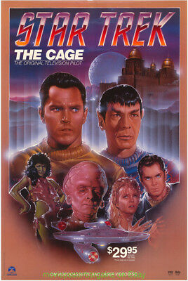 Star Trek The Cage Póster Película 27x40 Original Enrollado N.Mint 1980S Vídeo