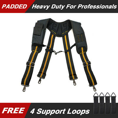 Padded Heavy duty Work Tool Belt Suspenders Braces Adjustable For Tool Pouch
