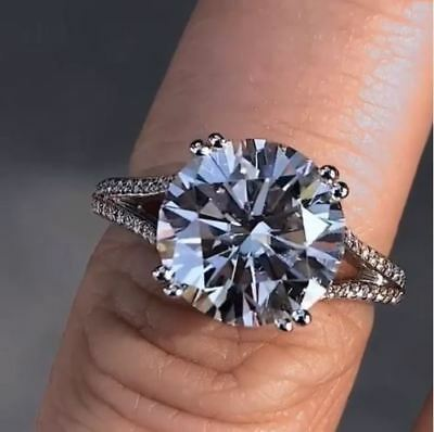 Certified 4.45Ct Round Cut Solitaire Diamond Engagement Ring in 14k White Gold