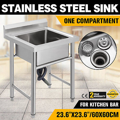 New One Compartment Commercial Stainless Steel Sink Wash Basin Table