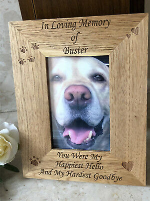 Personalised Engraved Wooden Pet Memorial Photo Frame - Cat Dog Pawprints Hearts