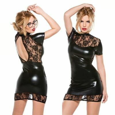 LH Sexy Latex Bodycon Black Dress Lace Mini Nightwear Short Maxi Outfit Party