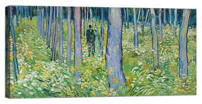 Stampa su Tela Vernice Effetto Pennellate Van Gogh - Undergrowth with two figure