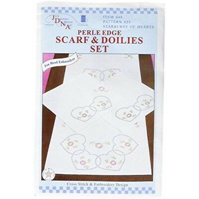 Jack Dempsey Stamped Dresser Scarf & Doilies Perle Edge-starburst Of Hearts