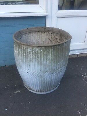 Vintage Galvanised Dolly Peggy Tub Old Garden Trough Planter Tree Plant Pot