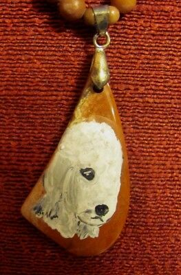 Bedlinton Terrier hand painted on a wedge shaped  gemstone pendant/bead/necklace