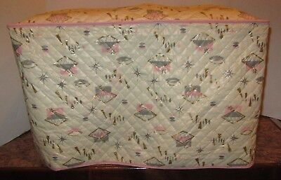 Vintage Large Quilted Plastic Appliance Cover Gray Pink Atomic MCM Kitchen