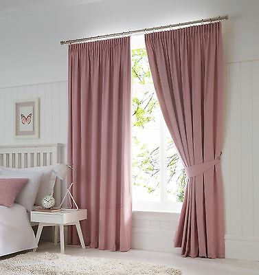 Fusion Dijon Blush Luxury Thermal/Blackout Pencil Pleat Fully Lined Curtains