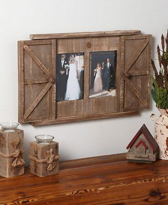 RUSTIC BARN DOOR Photo Frames Red White Natural Primitive Picture ...