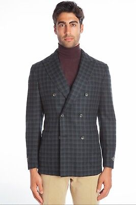 903184bcf1e $2550 BELVEST Blue Green Wool Cashmere Jacket Double Breasted 38 US / 48 EU  7R