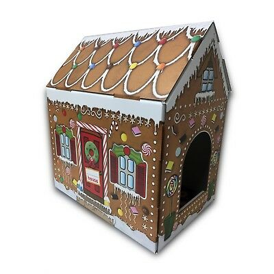 Cardboard Pet House Gingerbread Cat House Bed Box Gift For Cats!