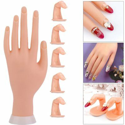Practice Nail Art Silicone  Manicure Training Hand Tool + 5 Finger Model