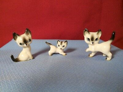 Vintage Siamese Cat Figurines Made In Japan Some Crazing Lot Of 3