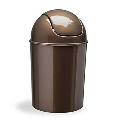 Waste Garbage Basket Trash Can For Bathroom 1 1/2 Gallon with Swing Lid Bronze