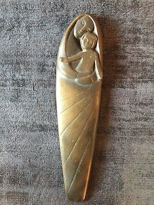 Vintage 1960s 1970s Modernist Madonna / Mary and Child Bronze Wall Plaque