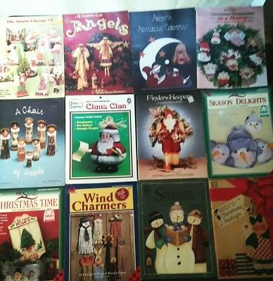 12 Christmas TOLE PAINTING INSTRUCTION & PATTERN BOOK LOT Decorative Santa Snow