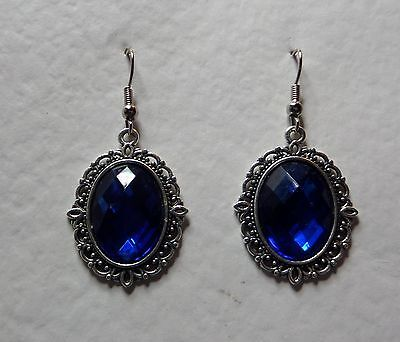 Victorian Style Deep Blue Acrylic Crystal Filigree Dk Silver Plated Earrings Snv