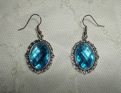 Victorian Style Turquoise Acrylic Crystal Filigree Dk Silver Plated Earrings Snv