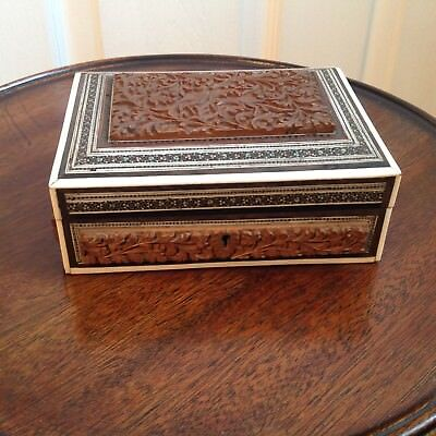 Vintage Anglo Indian Vizagapatam Micro Mosaic Inlay Jewel Type Trinket  Box
