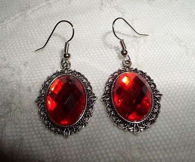 Victorian Style Orange Red Acrylic Filigree Dark Silver Plated Earrings Snv