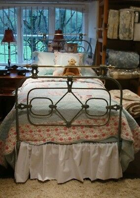 Antique Rare French Cast Iron, Brass And Verdigris Single Bed