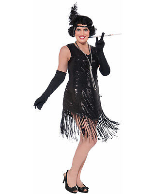 1920'S Swinging In Sequence Black Fringed Gatsby Plus Size Flapper Costume Dress