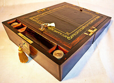 Victorian Coromandel Writing Slope with Hidden Drawers, Inkwells & Keys