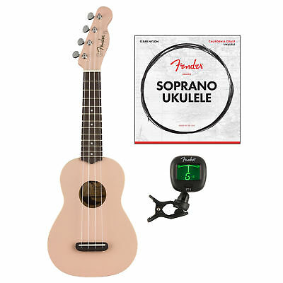 Fender Venice Soprano Ukulele, Shell Pink with Fender Ukulele Strings & Tuner