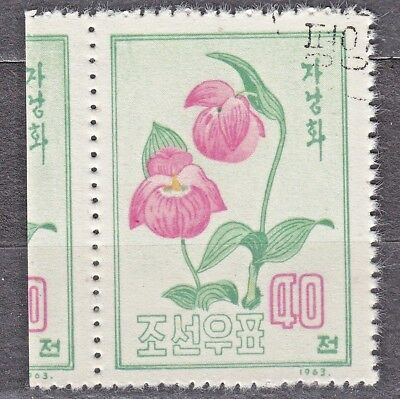 KOREA 1963 used SC#455 40ch stamp+label, Korean flowers - Orchid.