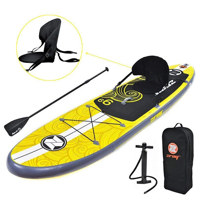 Inflatable Paddle Board Adjustable Paddle High-Pressure Pump Durable Backpack US