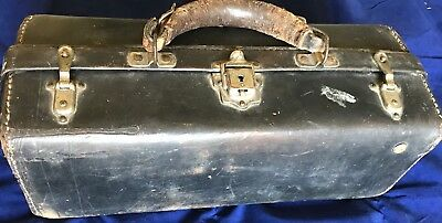 ANTIQUE BLACK LEATHER DOCTORS APOTHECARY BAG WITH 80 Vials 1880s WOW!