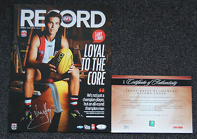 Lenny Hayes St Kilda Saints Hand Signed Afl Retirement Record Cover Riewoldt