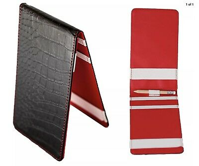 Golf Score Card Holder - Faux Leather - Black/Red